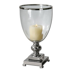 Contemporary Nickel Pillar Candleholder - *Nickel plated, metal base and accents with clear glass globe and distressed beige candle.