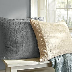 """Cable-Knit Euro Sham, Gray - As thick and cozy as a favorite sweater, our cable-knit collection offers irresistible warmth. Loomed of a soft cotton-acrylic blend, the throw features a garland motif border on each end. 26"""" square Cotton/acrylic. Reverses to self. Zipper closure; insert sold separately. Imported."""