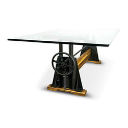 Kathy Kuo Home - Dogtown Industrial Loft Cast Iron Glass Dining Table - Crank up the coolness with this uniquely designed, adjustable, Industrial cast iron dining table. From the French oak beam to the three-quarter-inch tempered glass tabletop, there is nothing ordinary about this table. Solid cast iron is oiled to a rich black finish and adjustable between 26 and 32 inches in height, customizable for a perfect fit.