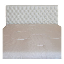 Great Deal Furniture - Holland Queen/Full Headboard, Ivory Leather - Dress up your bedroom with this elegantly designed headboard. This French inspired headboard is button tufted and can attach to almost any queen or full metal frame bed, as well as adjust according to the height of your mattress.