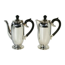 Lavish Shoestring - Consigned Silver Plated Tea and Coffee Pot Set by Viners, Vintage English, circa - This is a vintage one-of-a-kind item.