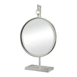 Lazy Susan - Lazy Susan 114191 Silver Leaf Table Mirror With Stand - Perfect on desks and dressing tables this unique and functional mirror is suspended in a silver leaf frame.