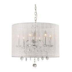 Warehouse of Tiffany - 19 in. Clear Crystal Chandelier - Includes 40 in. chain. Bulbs not included. Requires six 60 watt E27 type bulbs. Clear crystals. Made from metal and fabric. White color. Assembly required. 19 in. Dia. x 20 in. H (8 lbs.)This Gertrude Crystal Chandelier creates a glamorous sparkling home accent that complements your modern look.
