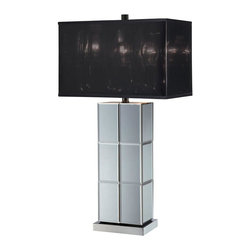 Lite Source - 28 in. Decorative Table Lamp - Includes one bulb. Requires one 23 watt CFL type bulb. Mirrored body. Black shade. Color temperature: 2700K. UL and CUL listed. Socket: E27. Shade: 15 in. L x 8.5 in. W x 9.5 in. H. Overall: 15 in. L x 8.5 in. W x 28 in. H (11 lbs.). Assembly Instructions