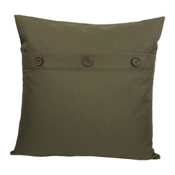 "Xia Home Fashions - 20"" Solid Color Pillow With Buttons, Fall Green - Three faux buttons compliment this fashionably understated solid color pillow collection."