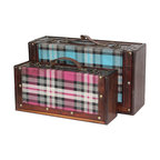 "Tartan Blue and Pink Plaid Suitcase Set - Approximate dimensions, Large Blue: 13 5/8W x 7.5D x 4 3/8H"" Small Pink: 11 5/8W x 5.5D x 3.5H"""