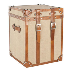 "Safavieh - Grand Tour Side Table - Inspired by an antique steamer trunk, the Grand Tour side table elicits vintage appeal. Elegant brown leather and luggage buckles frame the burlap furnishing for rustic charm. 17.5""W x 17.5""D x 23""H; Burlap and saddle leather; Brass rivets"
