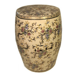 "n/a - 18"" H. Oriental Garden Stool with Glazed Chinese Flower Painting. - This attractive crackle glazed Chinese porcelain Garden Stool, 18"" high is painted with antiqued wispy floral artwork that also accents along the top and bottom. Hand-crafted by artisans in the Guangdong Province and imported by us, this handmade object is finished and glazed in an assortment of deep traditional Chinese colors. This garden stool can be used as a seat, plant stand, or side table."