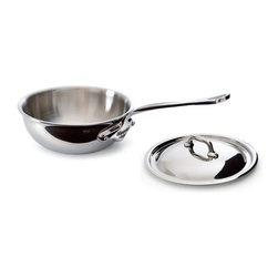 Mauviel - Mauviel M'cook Stainless Steel Curved Splayed Saute Pan with Lid, Cast Stainless - 5 ply Construction - High performance cookware, works on all cooking surfaces, including induction.