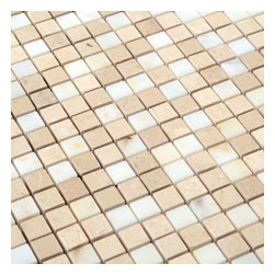 All Marble Tiles - Afyon Sugar / La Crema Blend Polished Marble Square 5/8x5/8 Mosaic - Afyon Sugar / La Crema Blend Polished Marble Square 5/8x5/8 Mosaic