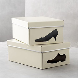 Bigso Ivory Shoe Box With Icon - I love a good graphic print, and these shoe storage boxes are so much cuter than the ones that come with your shoes!
