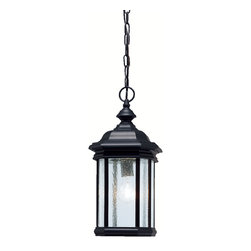 Kichler 1-Light Outdoor Fixture - Black Exterior - One Light Outdoor Fixture. The Kirkwood collection looks to add a touch of elegance to your home with a line of lighting that embodies classic design for those who only want the finest. Using a high quality fit and finish, the Kirkwood collection employs our basic black finish that not only looks fantastic now, but also will last for years to come. Seedy glass panels on each of the fixtures' sides allow for light to radiate from all angles, ensuring you the light you need. We think you'll agree that the Kirkwood is a collection you can't afford to miss. This 18 high by 8 sq. , 1-light hanging pendant uses a 150-watt bulb, and is UL listed for damp location.