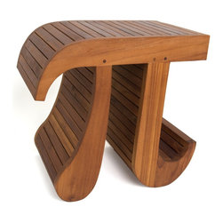 "Aqua Teak - 356 solid Teak scientific Pi stool (shower, bathroom, display) - *Patent Pending You are not imagining it. Look closely at this stool and you will see an incredibly artistic rendition of the scientific Pi symbol. The curves of the Pi symbol add an elegance and flair to the lines of this stool. The stool is well constructed of solid teak. It is so unique that you can use it as a small coffee table, or for a display table. We can assure you that there is nothing like this stool in existence. Our craftsmen in Indonesia surpassed themselves in being able to create this teak stool with such complex, and curvilinear features. This is not something the average artisan could create. Size: 15"" Length x 12"" Depth x 18"" Height   No Assembly Required"