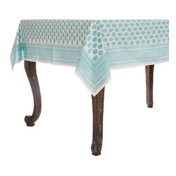 Origin Crafts - Petra aqua tablecloth - Petra Aqua Tablecloth 100% Cotton, block printed. Machine wash, tumble dry low, warm iron as needed. Made in India. Dimensions (in): Square - 55x55 - Seats 2?4 Rectangle - 60x90 - Seats 4?6 Rectangle - 60x120 - Seats 8?10 By Pomegranate Inc. - Pomegranate's vivid prints and wonderfully refreshing