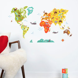 "Petite Collage - World Map Fabric Wall Decal - A playful take on a world map, this fabric wall decal set makes a colorful statement in a child's bedroom or nursery. Showcasing adorable animals across the seven continents, these textured accessories pop in vibrant orange, teal, gray, white, black, green, yellow and red hues. Made from adhesive fabric. Printed in the USA. Safe for non-porous walls. Clean with a damp sponge. Removable and reusable. Features a 0.25"" white border on all pieces. Approximately 24""W x 36""H ."