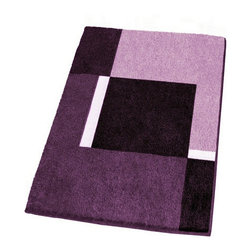 Modern Non-Slip Washable Purple Bath Rugs, Large - Contemporary non-slip large bathroom rug with a thick and densely woven .79in high pile.  Our purple bathroom rug is machine washable and offers a bold, beautiful range of colors including dark purple, medium tone purple and light purple.  Designed and produced in Germany