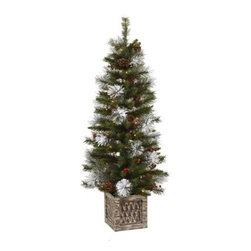 Vickerman 4 ft. Potted Snow Tip Pre-Lit Christmas Tree - Beautifully decorated with pinecones, red berries, and flocked tips, the Vickerman 4 ft. Potted Snow Tip Pre-Lit Christmas Tree has a wintry feel that's perfect for the holidays. Sitting in a beautiful stand, this tree has 50 clear lights that give off a gentle glow. Perfect for your home or office, this gorgeous tree adds to the festive atmosphere of the season. Specifications for 4-Foot Potted Snow Tip Pre-lit Tree Shape: Medium Base Width: 20 inches Number of Bulbs: 50 Number of Tips: 140 Don't Forget to Fluff!Simply start at the top and work in a spiral motion down the tree. For best results, you'll want to start from the inside and work out, making sure to touch every branch, positioning them up and down in a variety of ways, checking for any open spaces as you go.As you work your way down, the spiral motion will ensure that you won't have any gaps. And by touching every branch you'll create the desired full, natural look. About VickermanThis product is proudly made by Vickerman; a leader in high quality holiday decor. Founded in 1940; the Vickerman Company has established itself as an innovative company dedicated to exceeding the expectations of their customers. With a wide variety of remarkably realistic looking foliage; greenery and beautiful trees; Vickerman is a name you can trust for helping you create beloved holiday memories year after year.