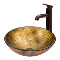 VIGO Industries - VIGO Copper Shapes Glass Vessel Sink and Seville Faucet Set - The VIGO Copper Shapes glass vessel sink and Seville faucet set in Oil Rubbed Bronze is unique and stylish.