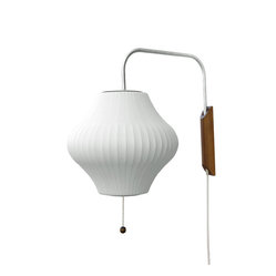 Modernica - Bubble Lamp, Pear Sconce - Taking its cues from midcentury design, this handcrafted wall sconce features a white ridged shade, a brushed-nickel swivel arm and a walnut mount with plug-in cord. Flank your bed or sofa with a little earthy, organic enlightenment.
