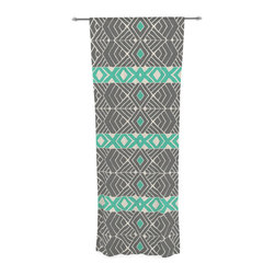 """Kess InHouse - Pom Graphic Design """"Going Tribal"""" Gray Green Decorative Sheer Curtain - Let the light in with these sheer artistic curtains. Showcase your style with thousands of pieces of art to choose from. Spruce up your living room, bedroom, dining room, or even use as a room divider. These polyester sheer curtains are 30"""" x 84"""" and sold individually for mixing & matching of styles. Brighten your indoor decor with these transparent accent curtains."""