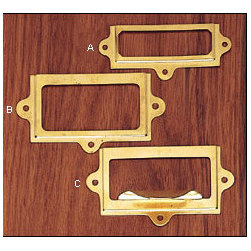 Stamped Brass Frames - I use label holders on magazine files, baskets, drawers, shelves, anything I need to know the contents of at a glance. They come in many different styles, from quick and easy stick-ons to these vintage brass pieces.
