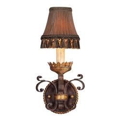 Fine Art Lamps - Castile Sconce, 220750ST - Add old-world warmth to your favorite setting with this wall sconce. Inspired by the castles of Spain, it features antiqued iron with a gold-leaf finish and a pleated shade with tassel fringe.