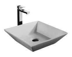 """TCS Home Supplies - European Design Slope Wall Porcelain Ceramic Countertop Bathroom Vessel Sink - Slope Wall Design Countertop Bathroom Vessel Sink. Porcelain Ceramic. Compatible with any Vessel Filler and Wall-Mount Faucets. Top Dimensions 16"""" x 16"""", Bottom Dimensions 10"""" x 10""""."""