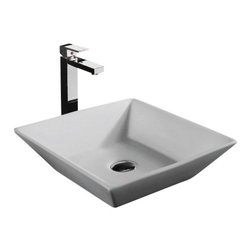 "TCS Home Supplies - European Design Slope Wall Porcelain Ceramic Countertop Bathroom Vessel Sink - Slope Wall Design Countertop Bathroom Vessel Sink. Porcelain Ceramic. Compatible with any Vessel Filler and Wall-Mount Faucets. Top Dimensions 16"" x 16"", Bottom Dimensions 10"" x 10""."