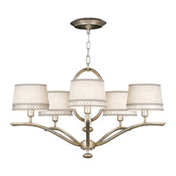 Fine Art Lamps - Allegretto Silver Chandelier, 785440ST - When you see the perfect light fixture, your heart beats a little faster. This chandelier has it all — softly swooping arms, a dramatic center oval, five linen shades with pierced metal bands and a choice of finishes to harmonize in the most discerning interiors.