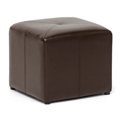 Baxton Studio - Baxton Studio Aric Bonded Leather Ottoman - Small, versatile, affordable ??? this bonded leather cube ottoman in dark brown can be placed anywhere and used for just about anything.  From a foot rest to additional seating, from a coffee table arrangement to an accent - the rich look of the shiny leather will enhance your interior.  The ottoman is lightly padded with foam and includes small round black plastic feet.  This item will arrive fully assembled.