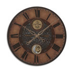 Uttermost - Uttermost Simpson Starkey Traditional Wall Clock X-83060 - Weathered, laminated clock face with cast brass details and internal pendulum. Requires 1-AA battery.