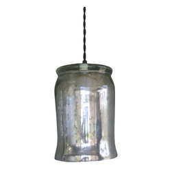 Mercury Glass Hurricane Pendant Light, Blue - Nice recycled Ball or Kerr mason jar light. Unlike others, we paired ours with a cloth wrapped twisted cord for a vintage feel. These are perfect for over the kitchen sink!