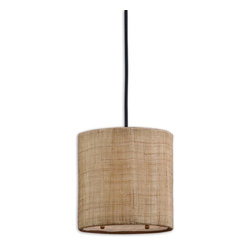Uttermost - Dafina 1-Light Burlap Mini Drum Pendant - Sophisticated and understated, this burlap pendant is a timeless accent for your home. A line of these above a kitchen island or dining table would add a welcoming glow to your space.
