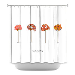 DiaNoche Designs - Shower Curtain Artistic - Enjoy the Simple Things - DiaNoche Designs works with artists from around the world to bring unique, artistic products to decorate all aspects of your home.  Our designer Shower Curtains will be the talk of every guest to visit your bathroom!  Our Shower Curtains have Sewn reinforced holes for curtain rings, Shower Curtain Rings Not Included.  Dye Sublimation printing adheres the ink to the material for long life and durability. Machine Wash upon arrival for maximum softness. Made in USA.  Shower Curtain Rings Not Included.