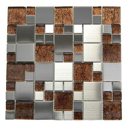 Stainless Steel + Emperador Dark Glass Mix Mosaic - Stainless Steel + Emperador Dark Glass 12x12 Mix Mosaic The Magic blend results in a stunning modern effect .This tile is ideal for steel back splashes, accent walls, fireplaces and more. The tiles in this sheet are mounted on a nylon mesh which allows for an easy installation.  Also known as Oddysey Blend