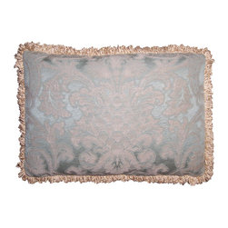 Vintage Damask Pillow Cover - An Artisanaware Decorative Pillow Cover Which Evokes a Feeling of Olde World Europe. Made of  Vintage Damask Fabric in Soft, Muted Aqua. One Only.
