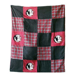 Traditions Art Glass Studios - Florida State University Quilt - -Large 50 x 60 Ultra suede patchwork quilt with chenille school logos  -Great for tailgating, keeping warm at games, or watching games on TV  -Machine washable. Traditions Art Glass Studios - FSU805