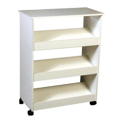 Venture Horizon - Mobile Shoe Caddy w Top & 3 Slanted Shelves i - Compact. Built-in top for storage. Portable. Casters add mobility. Constructed from durable, stain resistant and laminated wood composites that includes MDF. Made in the USA. Minimal assembly required. Weight: 28 lbs.. Assembled size: 24 in. W x 12 in. D x 31 in. HIf you like the Stackable Shoe Rack concept but prefer a more self contained unit the Model # 4219 is the answer. This Mobile Shoe Caddy is actually 3 stackable shoe racks on casters for added versatility. It also features a handy and useable top.