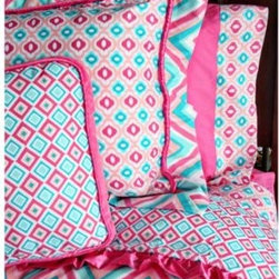 Caden Lane - Caden Lane Ikat Pink Twin Duvet Cover - She's growing up and you need bedding that will grow with her in style and comfort. This Caden Lane Ikat Pink duvet cover has a fun print with grownup style.
