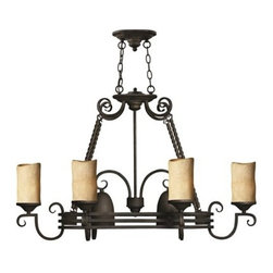 Hinkley Lighting - Hinkley Casa Olde Black Eight-Light 24 Wide Chandelier - Casa makes the most of its fine details- individually unique antique scavo glass twisted wrought iron and hand-forged scrollwork in an Olde Black finish complete its rustic-chic appeal with a Southwestern flair.Under four generations of family leadership Hinkley Lighting has transformed from a small outdoor lantern company to a global brand intent on bringing you the best in style quality and value. LIFE AGLOW: That's their mantra and they take it seriously. By welcoming their products into your home they become part of your family's everyday life illuminating small moments and big occasions. They understand your home is so much more than a physical place. It's an emotional space designed by you so they are committed to keeping your 'Life Aglow' with stylish state-of-the-art lighting. Their products are the ultimate combination of style and substance. They are constantly developing new technologies to make their fixtures even more energy efficient. Hinkley recently upgraded their LED to cutting-edge high lumen output integrated solutions and they give you hundreds of energy-efficient styles to choose from. Even their Cleveland-based world headquarters employs high energy saving standards with low VOC materials and a variety of eco-smart applications into the design to make an earth-friendly work environment for their Hinkley family. Hand crafted fixtures luxe finishes artistic details and quality materials go into the design of every product they make. They embrace the philosophy that you can merge together the lighting furniture art and accessories you love into a beautiful environment that defines your own personal style.