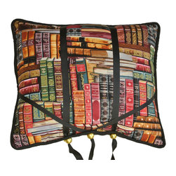 Library Book Buddy Book Holder - Our unique and beautiful BookBuddy book pillow holds both hardcover and paperback books.The BookBuddy comes in a variety of fabric designs from elegant damasks to fun fabs and faux suedes.