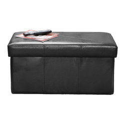 Great Deal Furniture - Peabody Folding Faux Leather Storage Ottoman - What if you could quickly and easily fold away your furniture so that regardless of the needed setting (family game night, couples night, cocktail party, etc.), you could effortlessly create the perfect atmosphere? While we can't say that all furniture can do this, the Peabody Faux Leather Storage Ottoman does just that!