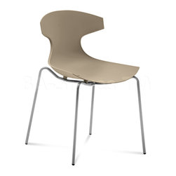DomItalia Furniture - Echo Stackable Chair in Taupe (Set of 2) - The Domitalia Echo Chair is a modern item to electrify your space. This wonderful Echo Stackable Chair in Taupe (Set of 2) is framed in strong lacquered steel with unmatched reliability and support. The tough polypropylene seat keeps you comfortably.