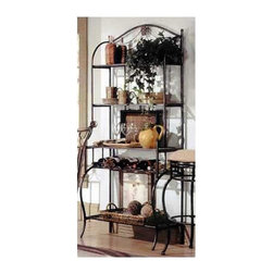 """Hillsdale - Camelot Baker's Rack - Varnished in a rich black/gold finish and draped in a metal rope motif, Hillsdale House's Camelot dining group is a collection fit for royalty at a commoner's price. The metal bakers rack features four wire/metal shelves for maximum storage space and intricate castings. Features: -Black/gold finish. -Do not use wax or abrasive cleaners as they may damage the finish. -Four shelves for maximum storage space. -Recommended care: Dust frequently using a clean, specifically treated dusting cloth that will attract and hold dust particles. -Overall Dimensions: 70.5"""" H x 30"""" W x 16""""D."""