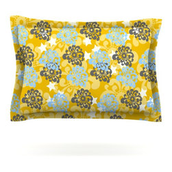 """Kess InHouse - Nandita Singh """"Blue and Yellow Flowers """" Gold Floral Pillow Sham (Cotton, 40"""" x - Pairing your already chic duvet cover with playful pillow shams is the perfect way to tie your bedroom together. There are endless possibilities to feed your artistic palette with these imaginative pillow shams. It will looks so elegant you won't want ruin the masterpiece you have created when you go to bed. Not only are these pillow shams nice to look at they are also made from a high quality cotton blend. They are so soft that they will elevate your sleep up to level that is beyond Cloud 9. We always print our goods with the highest quality printing process in order to maintain the integrity of the art that you are adeptly displaying. This means that you won't have to worry about your art fading or your sham loosing it's freshness."""