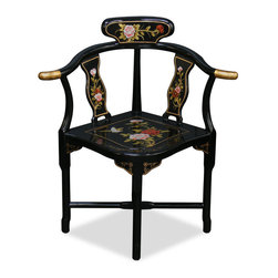 China Furniture and Arts - Black Lacquer Flower Design Corner Chair - If you have a space that is too small for an armchair yet looking inartistically bare to leave it unfilled, a corner chair is the best solution. Practical and stylish, this chair is hand painted with Chinese peony design on the front and decorated with mother of pearl lady motif on the back of the chair. Not only provides extra seating in your home, the unique angle of corner chair makes it a deserving piece of art.