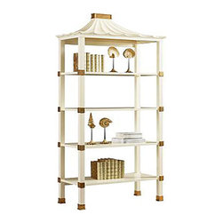 Pagoda Étagère, Cream - Add a chinoiserie touch, as well as vertical storage, with this beautiful pagoda-style étagère. I love all the golden accents!