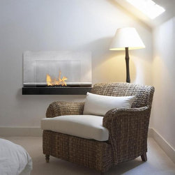 Ferrum Bio Ethanol Wall Mount Fireplace - The Ferrum Bio Ethanol Wall Mount Fireplace is easily hung on any wall and requires no Ventalation.  It's made on a sturdy powder coated frame and has an all stainless steel top plate with safety glass shield.