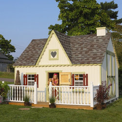 Little Cottage - Little Cottage 8 x 12 Victorian Wood Playhouse Multicolor - 8X12VICTORIAN W/O FL - Shop for Tents and Playhouses from Hayneedle.com! The Little Cottage 8x12 Victorian Wood Playhouse opens a world of creativity to your youngster. This stylish Victorian-inspired playhouse is built from incredibly durable materials to withstand years of use and display in your backyard. Assembly is easy thanks to the pre-cut pre-paneled walls pre-attached trim and the included hardware. When it's complete paint the house any color you wish. A beautiful addition to any setting this house measures approximately 8W x 12H feet when completed. A child-size Dutch door (20W x 40H inches) opens from the front of the playhouse while an adult door (34W x 61H inches) opens from the side. Shingles dripedge (roof edging) and paint are not included but are available at any local hardware store. If you choose the configuration that includes the deck you will also have to supply three 4 x 4-foot posts for under-floor support. Constructed from LP Smart Side which is a popular building material due to its durability resistance to weather and its low environmental impact this house is built to withstand the elements. Treated with SmartGuard which uses zinc borates to resist rot and mold LP Smart Side is an incredibly strong and safe alternative to typical materials that ensures years of enjoyment from your playhouse. Thanks to the durability of this material LP offers a 50-year limited warranty. Your playhouse arrives to you in a convenient ready-to-assemble kit complete with full-color downloadable instructions. It is available in your choice of configurations based on availability. Please note that if you choose an option without the floor kit then you must provide the materials for an interior floor. The playhouse shown in the photo above includes all available options (floor kit chimney loft and deck with rail). Your house comes complete with 2x3 wood wall framing 2x4 wood trusses high-quality siding and trim (which is pre-fastened to wall panels) panelized pre-cut wall sections pre-fastened gingerbread trim two flowerboxes and two working Plexiglass windows with screens and frames measuring 14 x 21 inches each. The windows include safety glass aluminum grids and screens. Also included are shutters one painted heart-shaped Plexiglass window and all assembly hardware as well as white aluminum exterior corner trim. All trim and siding is pre-primed and ready for painting. About The Little Cottage CompanyNestled in the heart of Ohio's Amish country The Little Cottage Company resides in a quaint slow-paced setting where old-fashioned craftsmanship and attention to detail have never gone out of style. Our experienced carpenters and skilled designers take great pride in creating top-quality pre-built models and Do-It-Yourself kits of playhouses storage sheds and more.