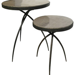 Studio A - Studio A Tripod Traditional Table with Grey Marble Top - Small X-83108.7 - Hand forged iron base with polished grey marble inset.